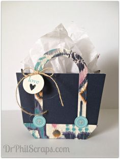 Gift bag made using CTMH Sarita paper - http://DrPhilScraps.com