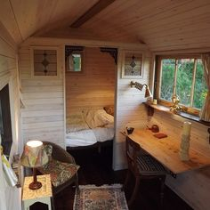 52 new Ideas for small boats interior tiny house Tiny Cabins, Cabins And Cottages, Tiny House Living, Small Living, Living In A Shed, Living Room, Living Area, Shepherds Hut For Sale, Tiny Spaces