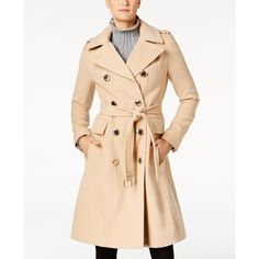 Calvin Klein Double-Breasted Trench Coat ($300) ❤ liked on Polyvore featuring outerwear, coats, camel, double breasted trench coat, beige coat, shiny coat, shiny trench coat and button coat