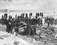 Crowd searching the ruins after the Halifax explosion, on Dec. Coconut Grove Fire, Galveston Hurricane, Halifax Explosion, Johnstown Flood, First Atomic Bomb, Barbary Coast, East Coast Travel, Water Damage, Chicago Fire