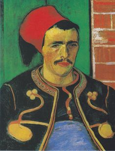 "Le Zouave (half-figure).  He painted two of the Zouave soldier in June 1888.  A tanned man with bright colors he called a ""savage combination of incongruous tones"". The Zouave's uniform was blue with red-orange braids, a red cap and two yellow stars on his chest, all placed against the background of a green door and orange bricks. He was unsatisfied with the painting and made another painting Le Zouave of the soldier against a white wall."