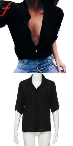 4d1fdc3f89b Women causal shirts sexy v neck long sleeve turn-down collar loose blouse  tops office shirt blusas mujer de moda 2018