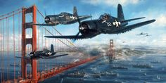 John Shaw Aviation Art THE HOMECOMING Autumn countless American boys who sailed off to war in the Pacific the Golden Gate Bridge was their last sight of home Man. Ww2 Aircraft, Fighter Aircraft, Aircraft Carrier, Military Aircraft, Fighter Jets, F4u Corsair, Aviation Technology, Aviation Art, Airplane Art