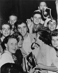 LaCreta Counts (lower left) and other fans with Elvis in Amarillo - Oct. 13, 1955