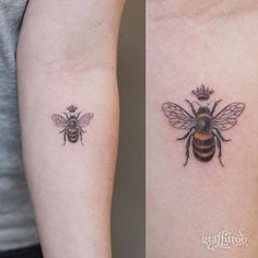 bee tattoo on the left inner forearm. - Queen bee tattoo on the left inner forearm. -Queen bee tattoo on the left inner forearm. - Queen bee tattoo on the left inner forearm. Forearm Tattoo Quotes, Outer Forearm Tattoo, Small Forearm Tattoos, Body Art Tattoos, Small Tattoos, Sleeve Tattoos, Inner Forearm, 3d Flower Tattoos, Bee And Flower Tattoo