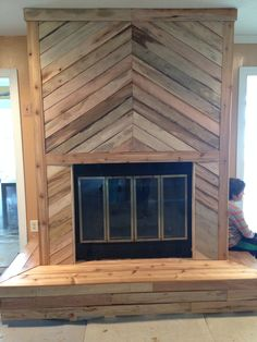 Jason's Handyman Service  Madison Ga  706-818-0315 Pallet wood herringbone fireplace