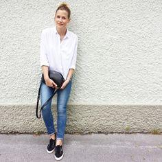 tifmys - H&M shirt and denim, A.P.C. Half-moon bag & Superga sneakers.