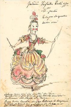 "Costume for a role for Indian Peslin miss in ""Perseus"" (Jean-Baptiste Lully)  Drawings and sketches of costumes for the opera in Paris and Versailles from 1739 to 1767  Louis-Rene Boquet (1717-1814), 1770."