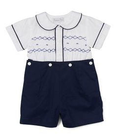 This Navy & White Button-Up Top & Pants - Infant & Toddler is perfect! #zulilyfinds
