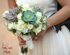 Bride and Groom with the Bouquet