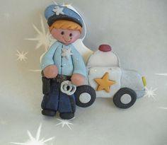 *POLYMER CLAY ~ Christmas Ornament w Police Officer Squad Car Gun Badge Handcuffs.