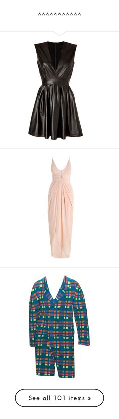 """""""^^^^^^^^^^^"""" by valley-of-the-teenage-dolls ❤ liked on Polyvore featuring dresses, vestidos, short dresses, black dresses, full skirts, short leather dress, deep v neck mini dress, leather dress, low v neck dress and long dresses"""