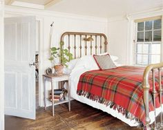 White Bedroom with Brass Bed and Red Plaid Blanket--this is my design style--feminine cabin vibe