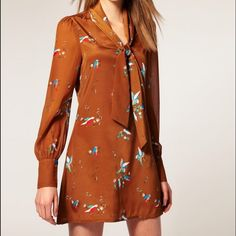 Asos bird print bow secretary silk dress Super flattering cut with bird print and long sheer sleeves ASOS Dresses Long Sleeve