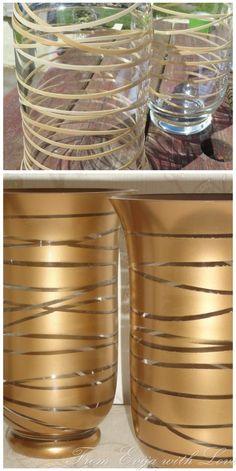These 20 DIY home decorating ideas with spray cans bring color to .- Diese 20 DIY Wohndeko-Ideen mit Spraydosen bringen Farbe in dein Leben! DIY home decorating ideas with spray cans, spray vases, make decorations yourself - Gold Diy, Jar Crafts, Bottle Crafts, Decor Crafts, Diy Spray Paint, Spray Paint Projects, Diy Projects, Best Gold Spray Paint, Copper Spray Paint