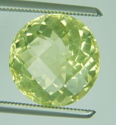 7.04 CT NATURAL YELLOW LEMON QUARTZ LOOSE GEMS ROUND CHECKER CUT 12.3 X 12.4 MM #ROUNDSNROSES