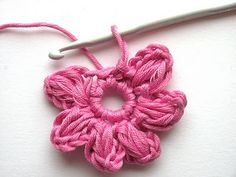 Another lovely crochet flower. Purple crafts: English version - Crochet flower instructions