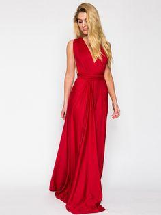 Red,V-neck Back,Twist,Strap Detail,Ruched,Maxi Dress