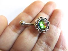 Faceted Rainbow Stone Flower Rose Daisy Belly by Azeetadesigns #azeeta, #designs, #belly, #button, #ring, #jewelry, #handmade, #piercing, #etsy, #earring, #barbell, #stud, #summer, faceted, #rainbow, #flower,
