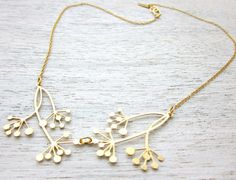 Hanabi Necklace in Gold, wedding branch pendant jewelry. $53,00, via Etsy.