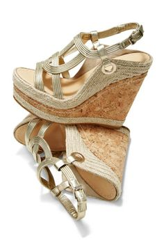 It wouldn't be summer without wedges!    Twisted Cork-N-Espadrille Wedge- Boston Proper
