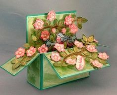 """Christina has just made a beautiful card in a box. I wanted a larger box so I changed the sizing of my box to fit on a 4 ½"""" x 12"""" piece of cardstock."""