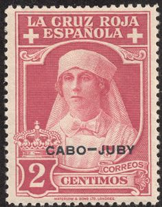 "Cape Juby  1926 Semi-postal Scott B2 2c rose ""Queen as a Nurse"" Black overprint; On stamps of Spain, 1926"