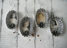 tart tin christmas ornament set vintage children by ShabbyRoad