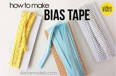 How to make and understand bias tape | MADE - Great video!  Dana gets me SO PUMPED about bias tape!