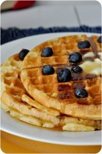 """Crispy and light, slightly moist waffles. Named """"The Greatest Waffle Recipe Ever,"""" these delicious waffles have earned the title. Breakfast Dishes, Breakfast Recipes, Breakfast Ideas, Breakfast Club, Breakfast Casserole, Waffle Maker Recipes, Pancakes And Waffles, Fluffy Waffles, Buttermilk Waffles"""