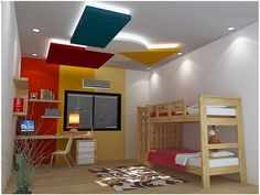 Kids bedroom interior with POP design for false ceiling