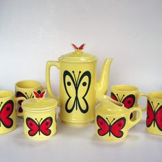 Charming yellow tea set with butterflies teapot by jawaddel, $48.00