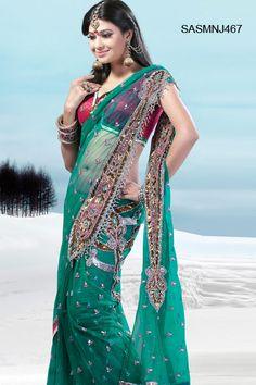$152 Green Net Butterfly Pallu Saree from cbazaar