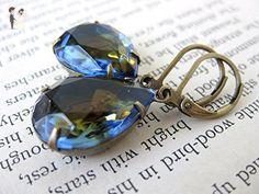 Vintage Rhinestone Earrings. Montana Topaz Cuba Glass Jewels in Antiqued Brass - Bridesmaid gifts (*Amazon Partner-Link)