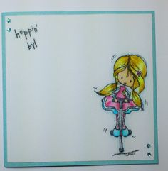 Made by Maroeska: Card with a clear stamp by Tiddly Inks, colored with Copics. Image is stamped on stamp linnen.