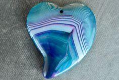 50mm Purple, Blue Agate Pendant, Purple Stone Heart, Designer Gemstone Pendant, 50x45x7mm Natural Stone, Stone Focal Bead by TheBeadBandit on Etsy