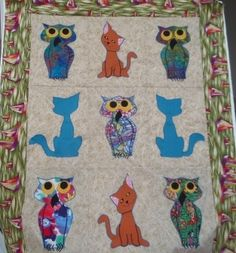Free owl and pussycat quilt pattern and tutorial, based on the Edward Lear poem.  Templates provided.
