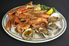 Causeway Steamer. Snow crab legs, oysters on the half shell and one pound of steamed head-on shrimp. Yum!