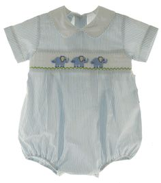Love this!! Infant Boys Blue Smocked Elephant Bubble Outfit Petit Bebe