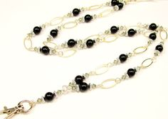 ID Badge Lanyard with Pearls and Crystals by byBrendaElaine