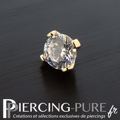 Microdermal Or Cristal griffé blanc - Piercing-Pure 14 Carat, Serti, Or, Piercings, Sapphire, Jewels, Pure Products, Tattoos, Rings