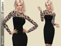 The Sims Resource: Black autumn dress by Birba32 • Sims 4 Downloads