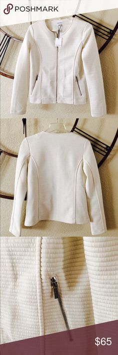 Ivory colored Calvin Klein knit zip up jacket Fun sassy jacket!  Calvin Klein Jackets & Coats Blazers