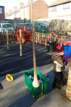 Ball in the leg of a pair of tights! Children can then use bats to develop their hand eye coordination.