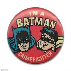 """Batman Crimefighter  """"I'm a Batman Crimefighter"""" (1-1/2-inch) button c. 1960s"""