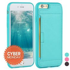Iphone 6S Case - [Wallet Case] ZVE® iphone 6 leather case Slim Protective Leather Wallet, Credit Card ID Holders and carrying case for iphone 6/6S (4.7inch) (Mint Green)