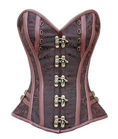 b066f13a021 Charmian Women s Steampunk Gothic Brocade Spiral Steel Boned Corset with  Buckles at Amazon Women s Clothing store