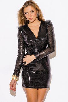 a50f72570fe8 Black Sequin Long Sleeve Mini Dress