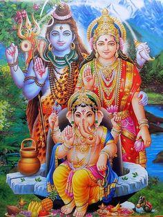 Vintage Calendar Print Hindu God Shiv Parvati Ganesha #op-373 | Collectibles, Religion & Spirituality, Hinduism | eBay!