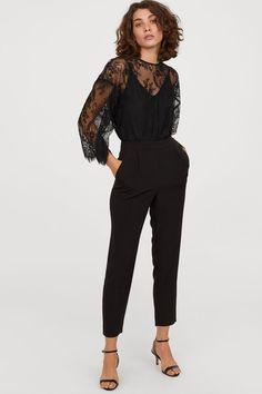 Nurse Discover Jumpsuit with Lace - Black - Ladies Black Lace Top Outfit, Black Jumpsuit Outfit, Lace Top Outfits, Black Lace Jumpsuit, Black Lace Tops, Black Laces, Aesthetic Fashion, Urban Fashion, Dress Over Pants